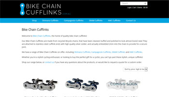 Bike Chain Cufflinks Website Design